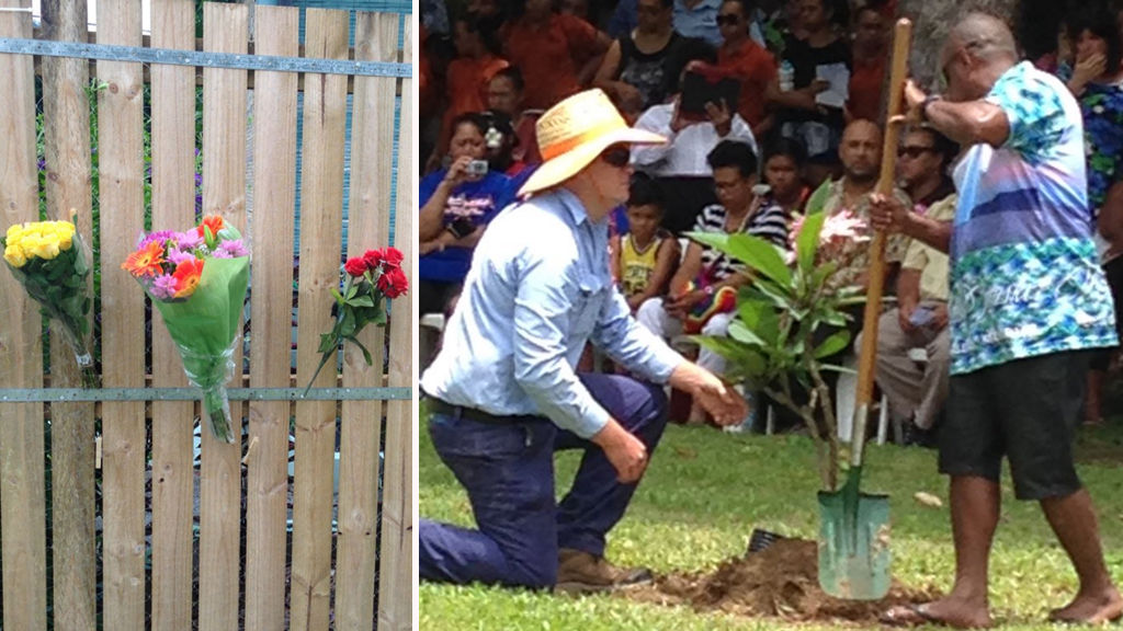 Tributes to the children (left), and memorial trees planted near the site of the  massacre in Manoora, Cairns. (9NEWS / Ebony Cavallaro)