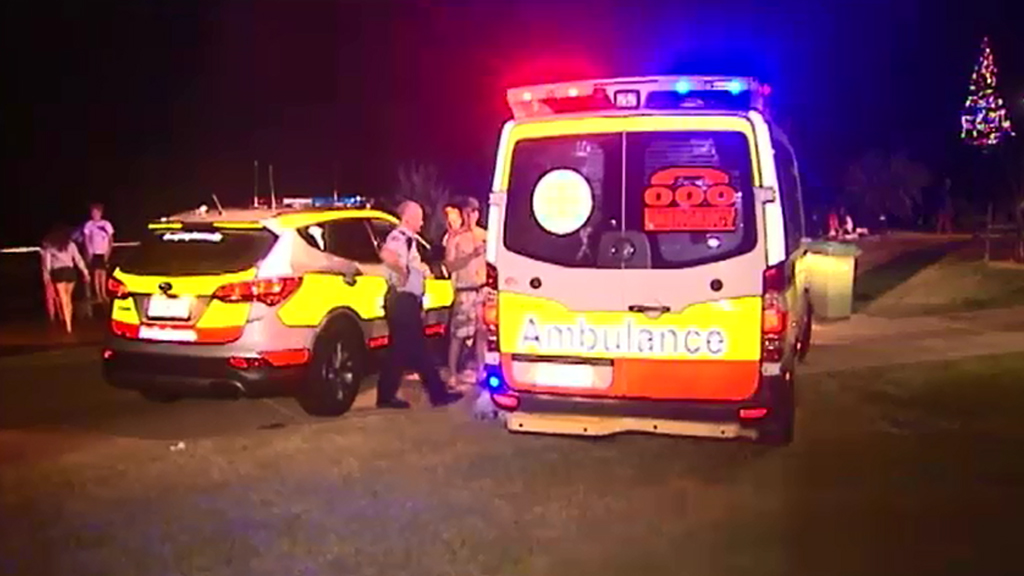 Paramedics treated a fire-breather for internal burns, and took him to hospital. (9NEWS)