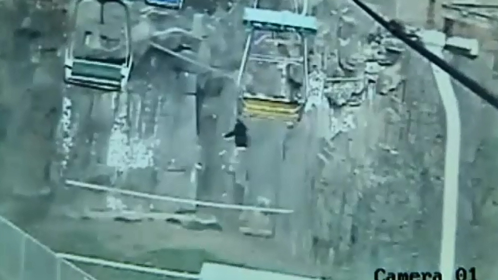 CCTV cameras recorded a man jumping from a chairlift over a tiger enclosure. (9NEWS)