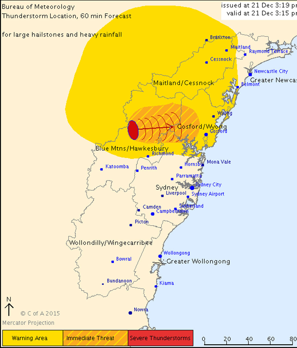 Severe thunderstorm warning for parts of Sydney, NSW's Hunter and Central Tablelands