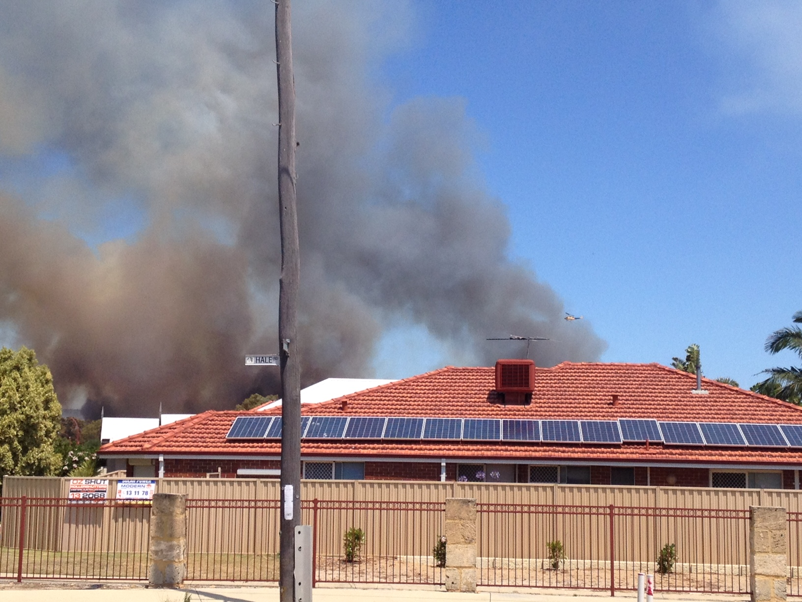 Black smoke can be seen in Perth's outer suburbs. (9NEWS)