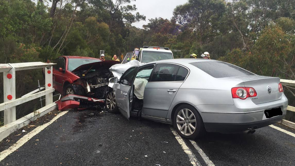 Both drivers received minor injuries. (Bundeena Fire Station)