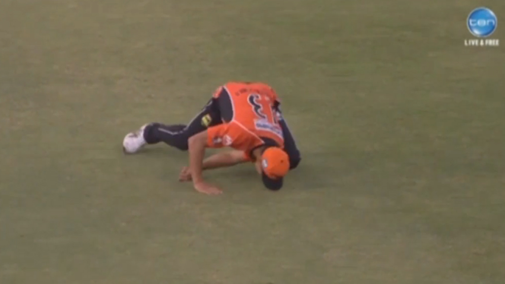 Nathan Coulter-Nile dislocated his shoulder after landing awkwardly.