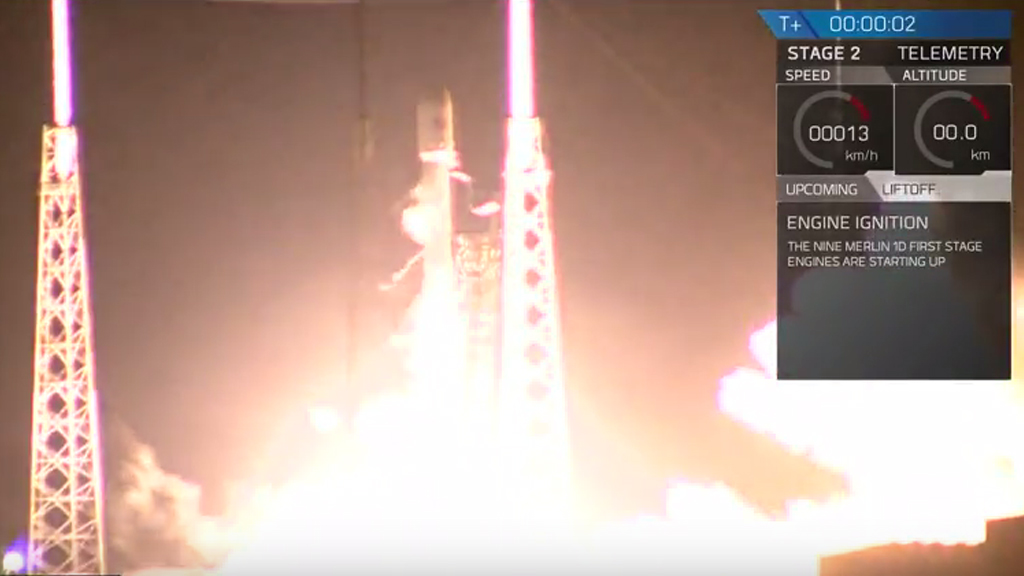 SpaceX's Falcon 9 rocket during lift-off. (Youtube / SpaceX)