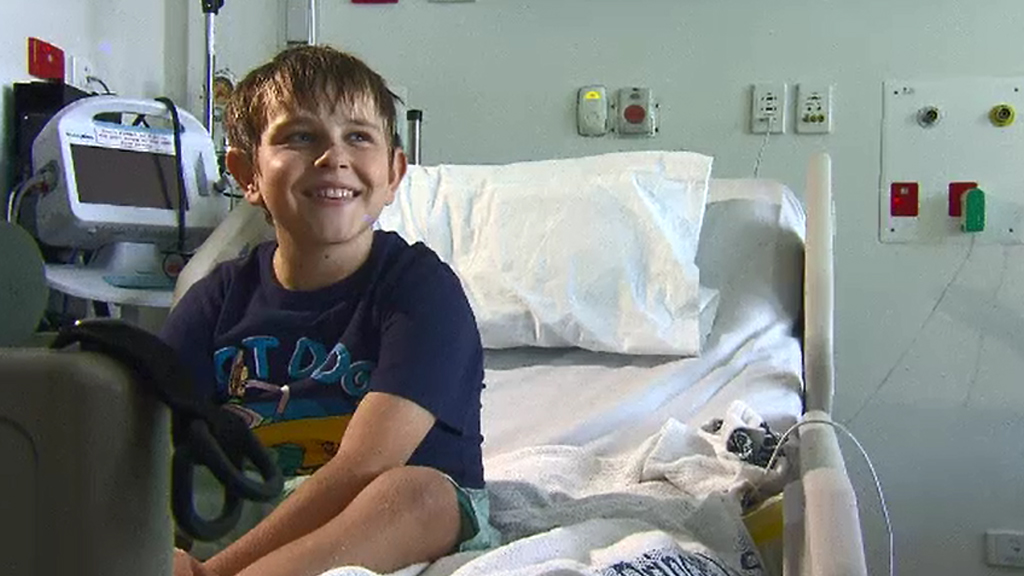 Hallum Tearle, 11, will be able to spend Christmas at home after receiving a kidney transplant. (9NEWS)