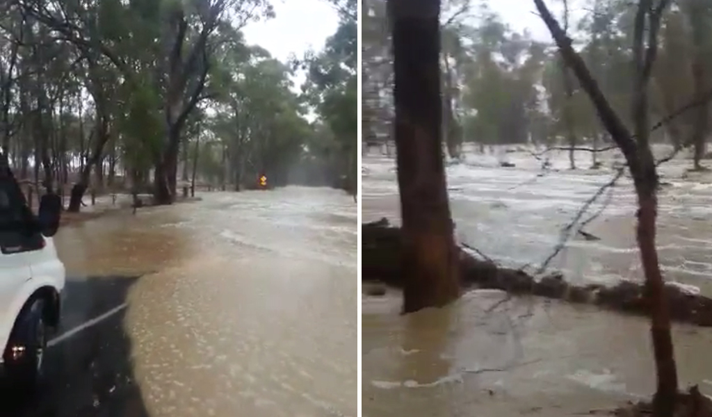 Flash flooding at Whiteheads Creek. (Supplied / Jordyn Hall)