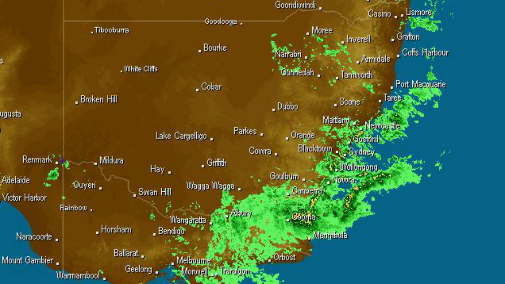 The east coast of NSW has been blanketed with rainfall today. (Weatherzone)