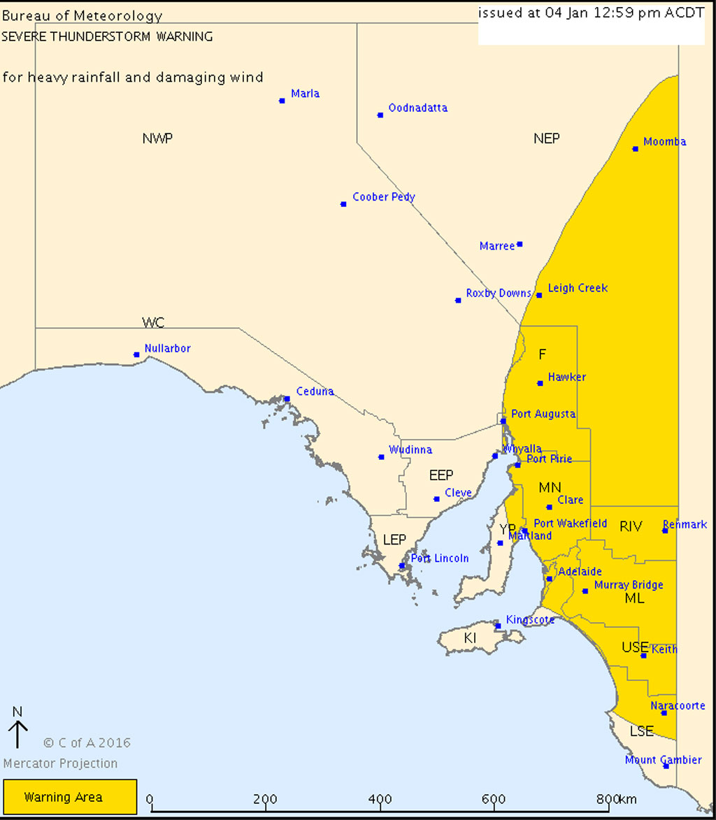 Severe thunderstorm warning issued for Adelaide, Flinders Ranges and other parts of South Australia