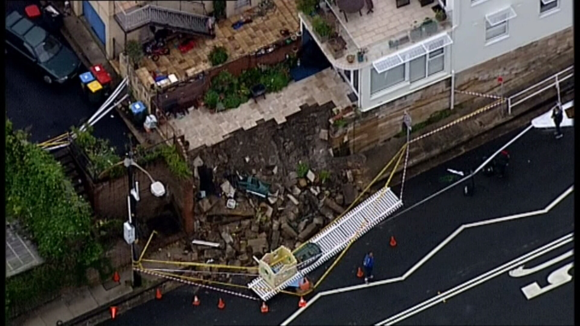 The heavy rain has also caused a landslip at Bronte. (9NEWS)