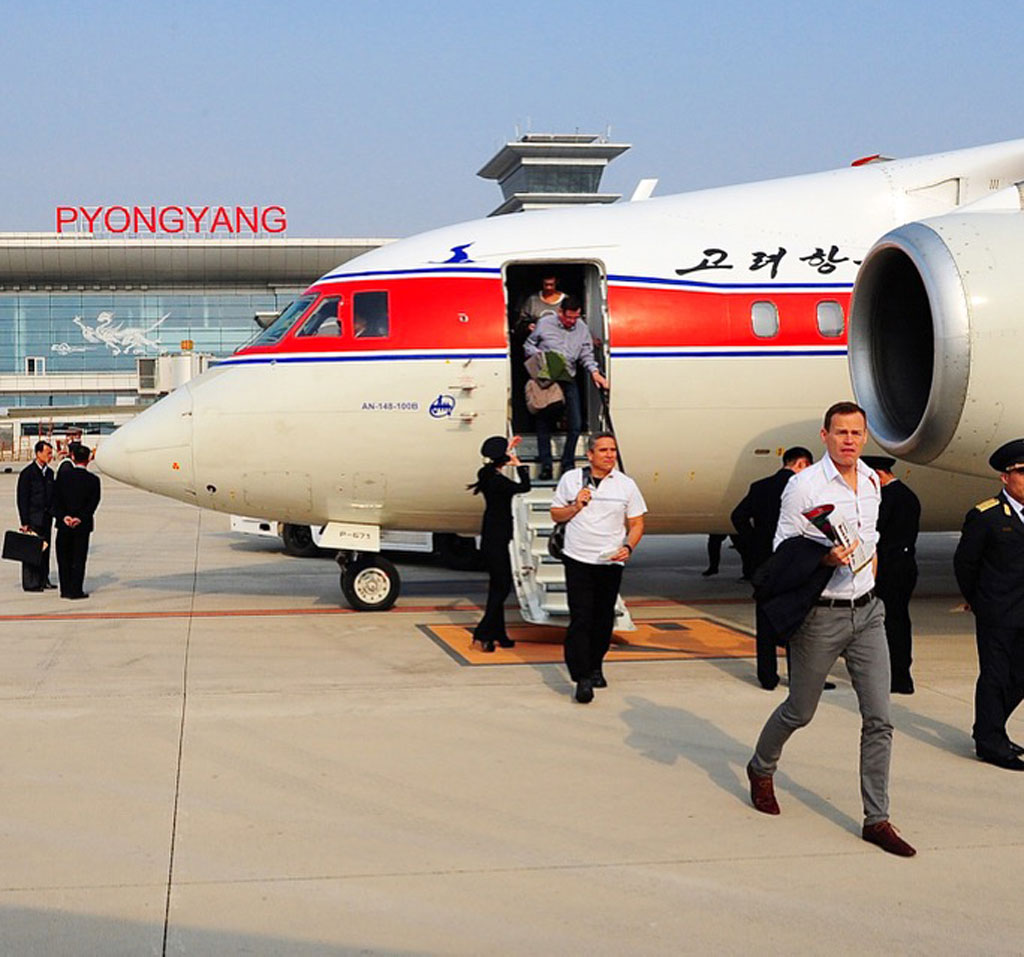 Steinfort and the crew land at Pyongyang Airport.