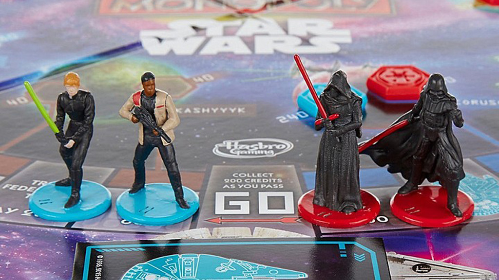The game includes four all-male pieces, including Darth Vader who is not featured in the film. (Hasbro)
