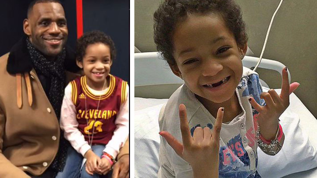 Daughter of NFL star Devon Still hangs out with LeBron James before her last cancer treatment