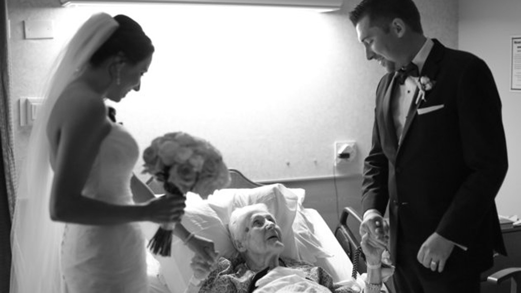 Mr Kurtulik found his grandmother sitting in bed dressed head-to-toe in her wedding outfit. (Hello Gorgeous Photography)