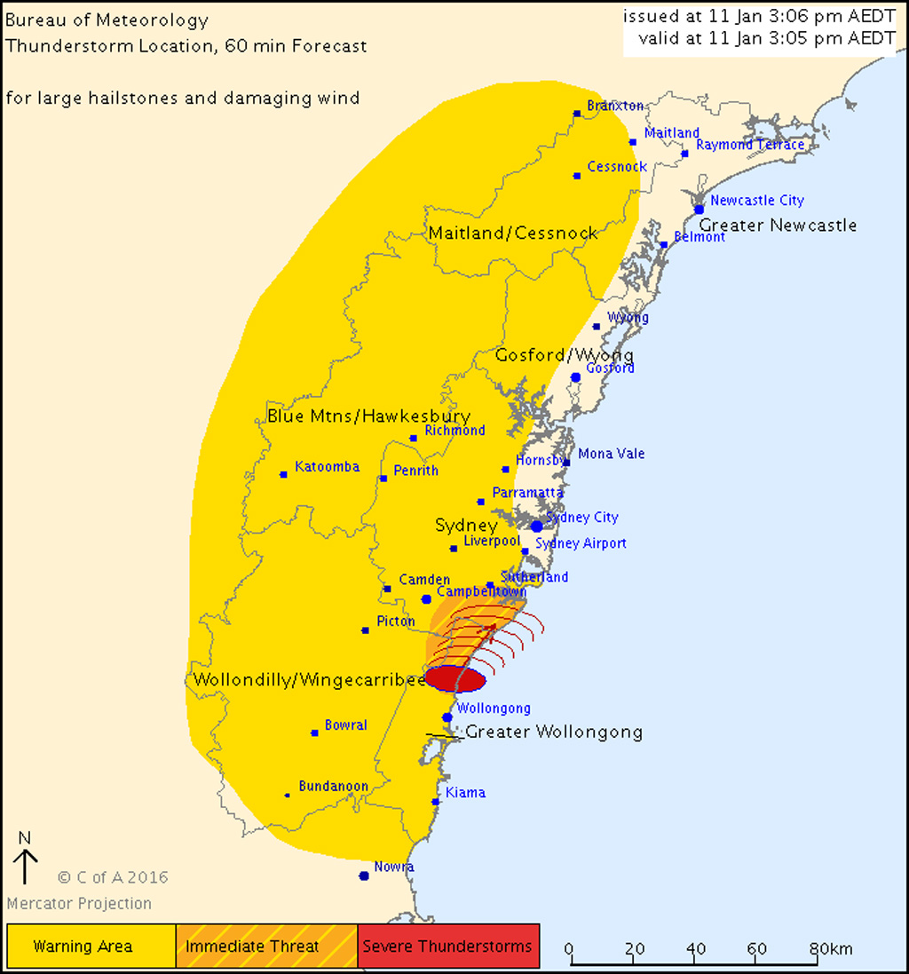 Severe thunderstorm warning issued for parts of Sydney and Wollongong with possibility of large hail and damaging wind