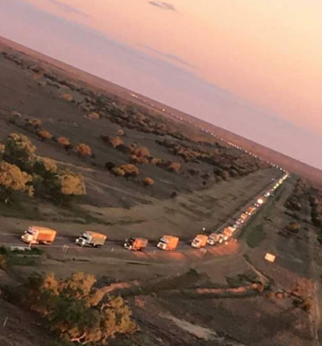 The 125-truck convoy covered a possibly record breaking 1860km journey. (Facebook)