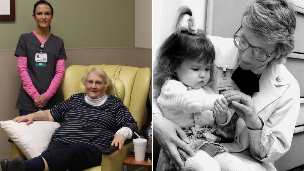 Elderly US woman receives treatment from nurse she looked after as a toddler