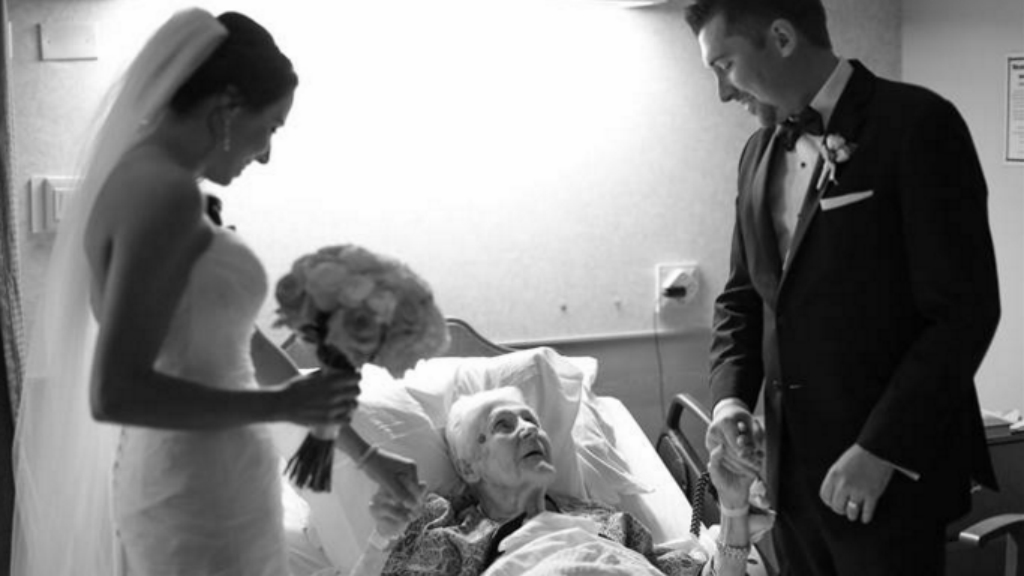 Newlyweds visit dying grandmother's bedside on their wedding day