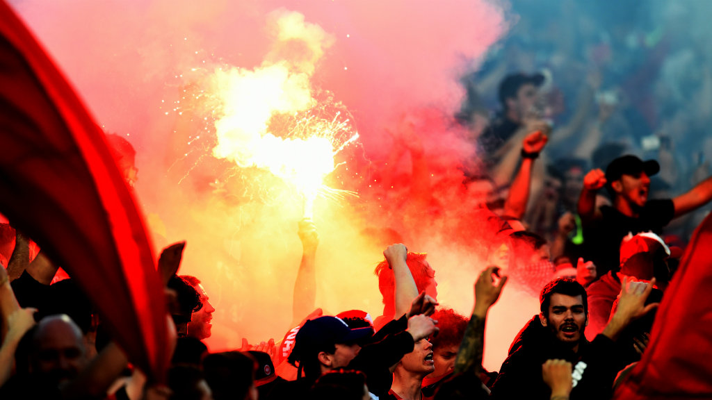 Three football fans charged after Sydney A-League derby