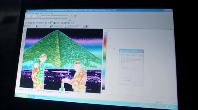 Data recorded from the thermal scans has shown different colours on the pyramids for different temperatures.