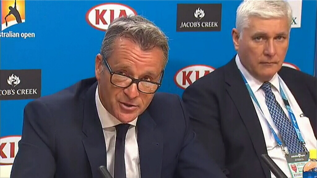 ATP president Chris Kermode and Tennis Integrity Unit director Nigel Willerton in Melbourne today.