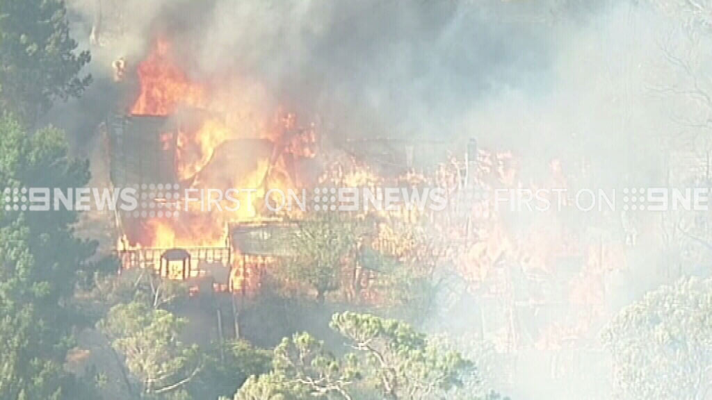 The fire was fanned by strong winds as it moved south. (9NEWS)