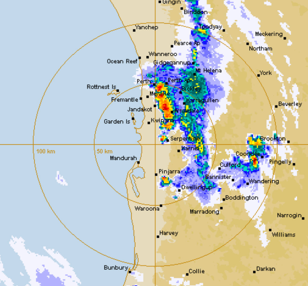 The storm as it moved through Perth. (BoM)
