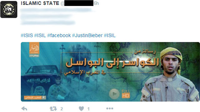 Bieber hashtag used for IS propaganda
