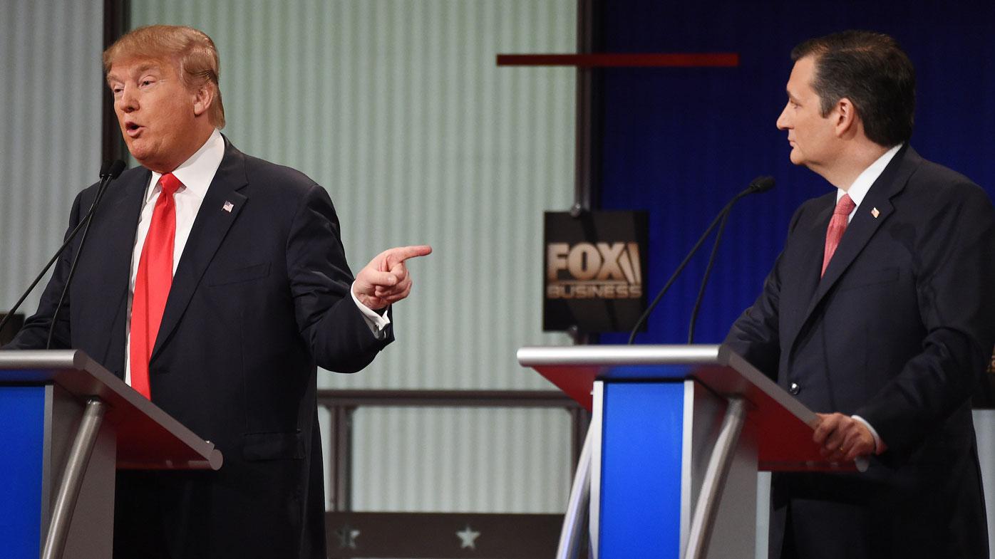 Donald Trump faces off against Cruz. (AAP)