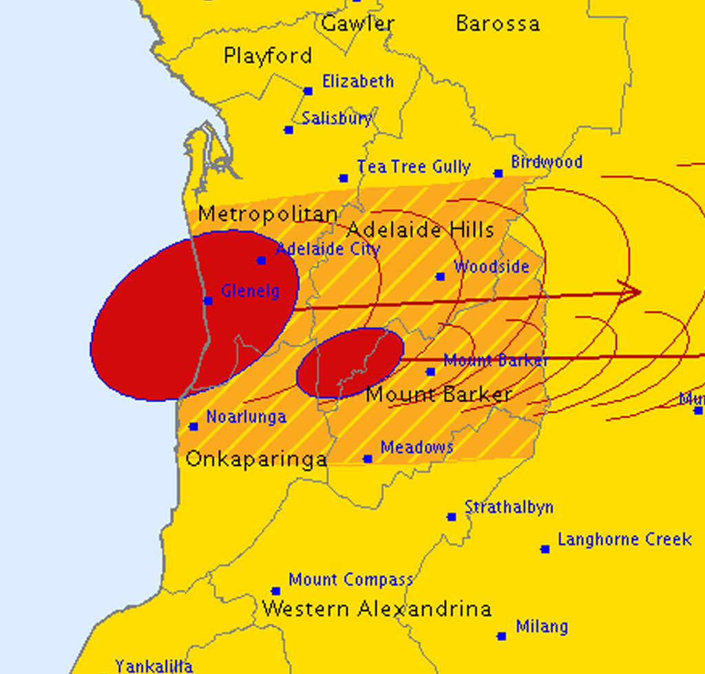 The Bureau of Meteorology detected a powerful storm cell moving through Adelaide. (BoM)