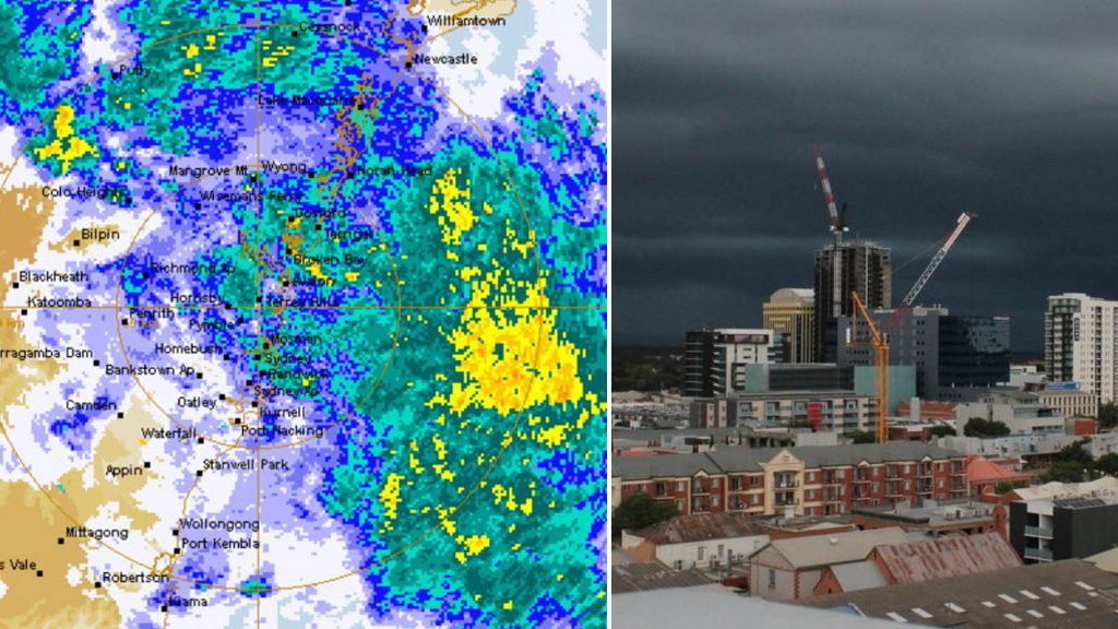 Wild weather moves towards Sydney (left) and the dark clouds gathering over Adelaide.
