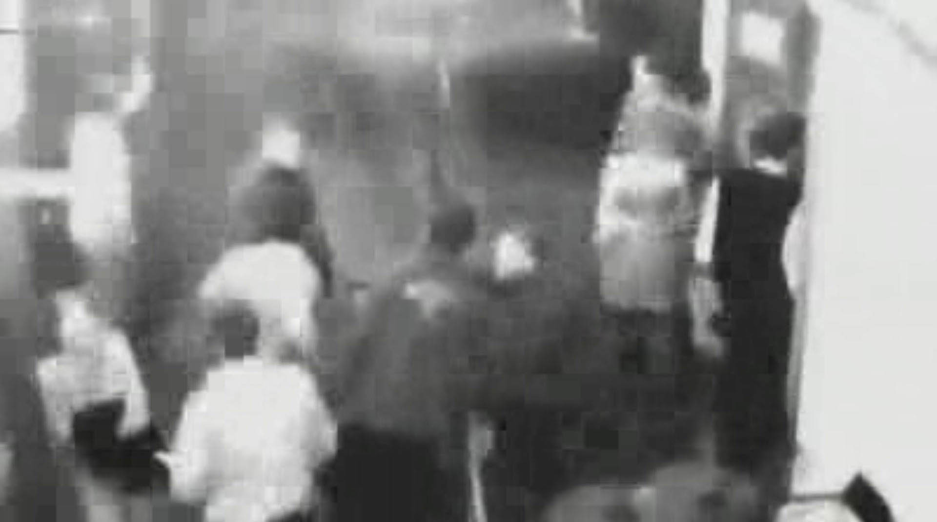 CCTV showing Jane Rimmer (bottom left) before speaking to an unidentified man outside the Continental Hotel in Claremont. (WA Police)