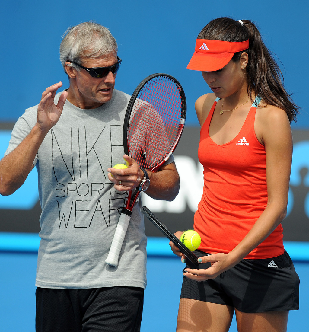 Sears and Ana Ivanovic of Serbia during practice earlier this week. (AAP)