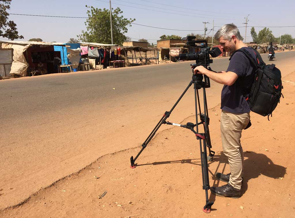 The crew sets up in Burkina Faso. (9NEWS)