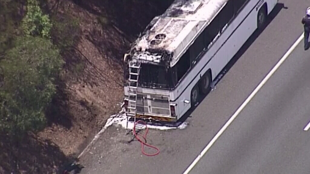 A bus has caught fire on the Logan Motorway. (9NEWS)