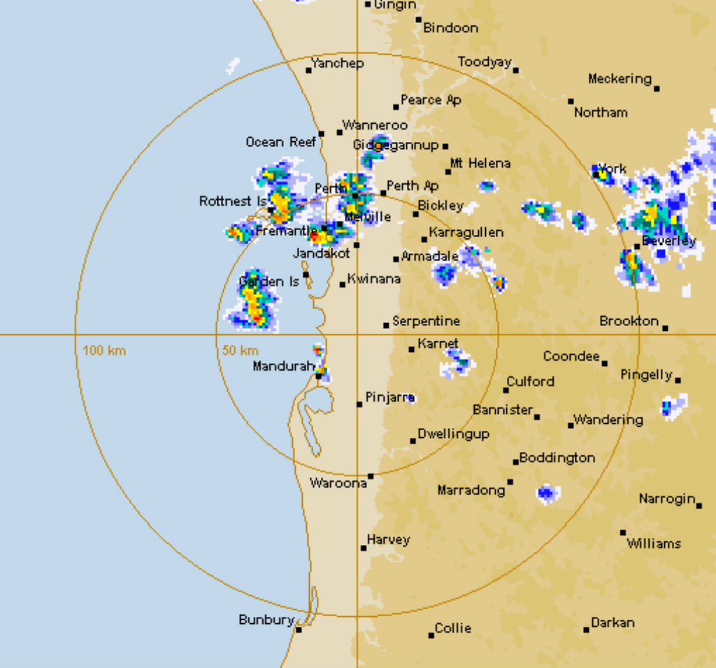 The storms as the moved over Perth. (Bureau of Meteorology)