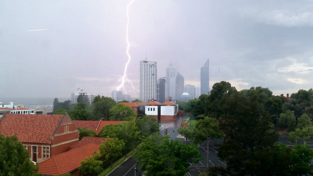 Severe storm warning issued for Perth after two homes earlier struck by lightning