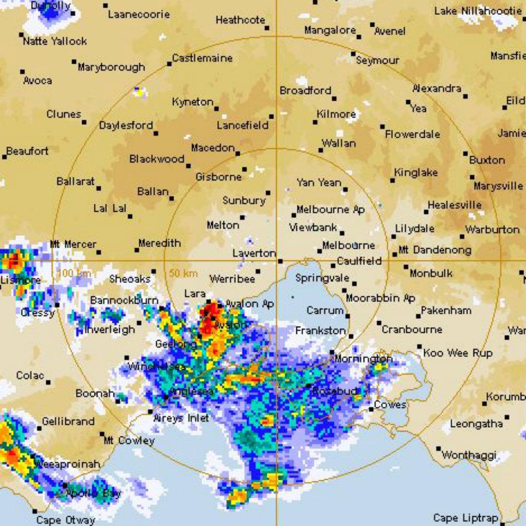 Rain over Geelong. (Bureau of Meteorology)