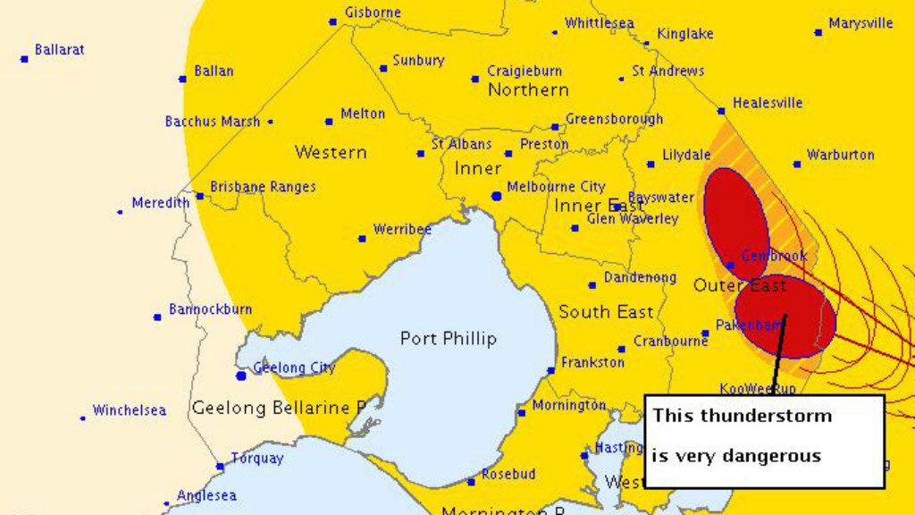 The warning for Pakenham residents. (BoM)