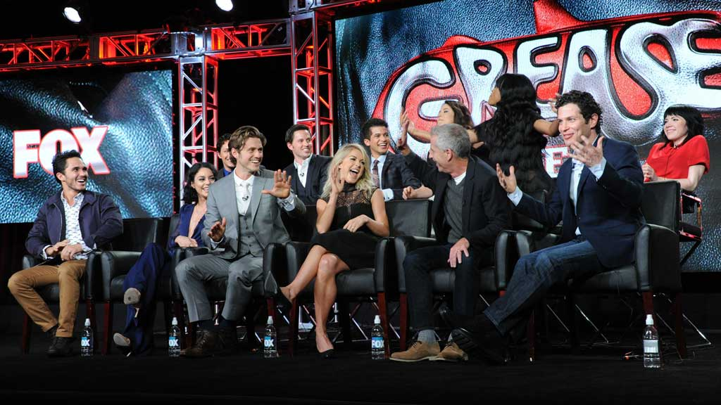 """Cast and crew participate in a panel for """"Grease: Live"""" at the Fox Winter TCA. (AAP)"""