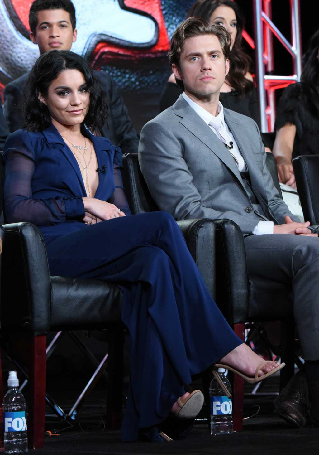 """Vanessa Hudgens, left, and Aaron Tveit participate in a panel for """"Grease: Live"""" at the Fox Winter TCA. (AAP)"""