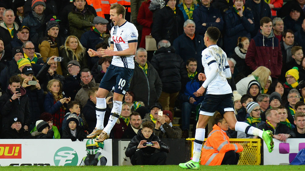Harry Kane celebrates one of his two goals for Tottenham.