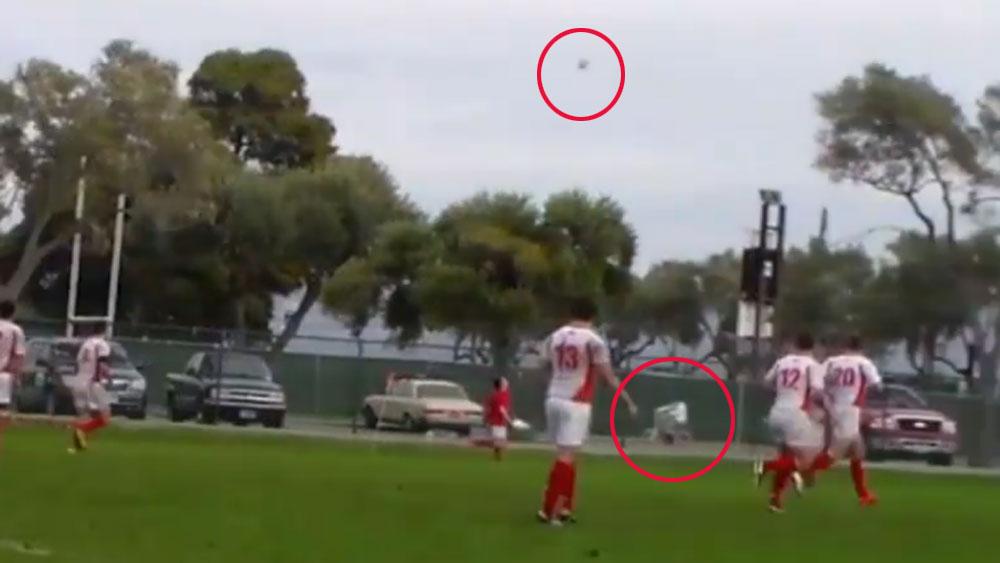 Footballer 'falcons' cyclist