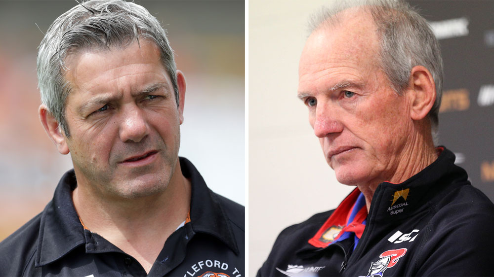 Castleford coach Daryl Powell (L) and Wayne Bennett. (AAP)
