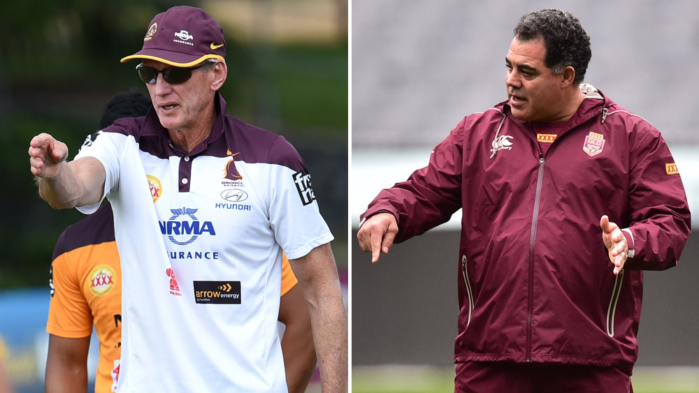 Wayne Bennett (L) and Mal Meninga. (Getty-file)