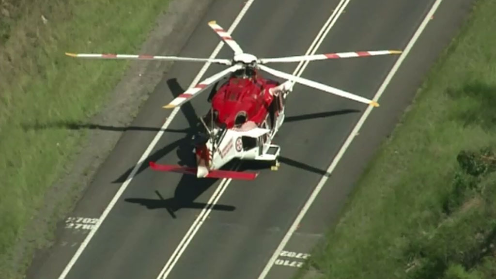 The woman driving the Jeep has been air-lifted to Liverpool Hospital.