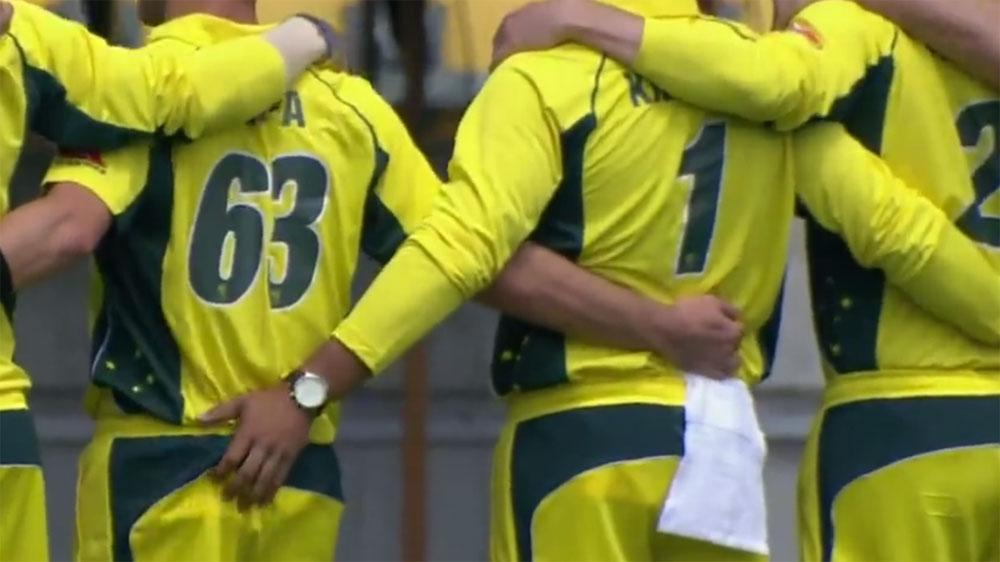Khawaja caught squeezing Adam Zampa's bottom during Australia anthem
