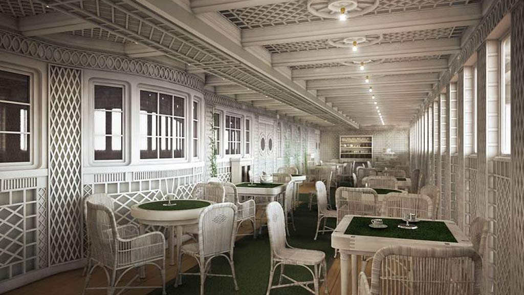 Café Parisien will feature on board where the wealthy passengers would dine on the original ship. (Blue Star Line)
