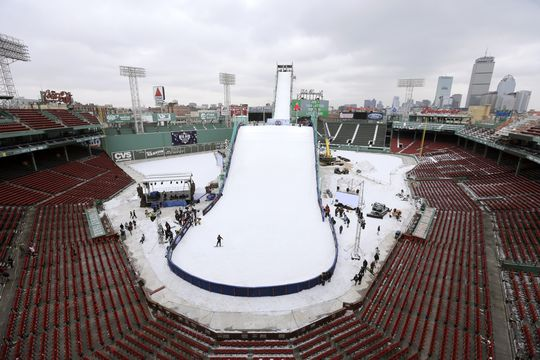 Big slide to home plate as Boston's Fenway Park transforms into a ski jump