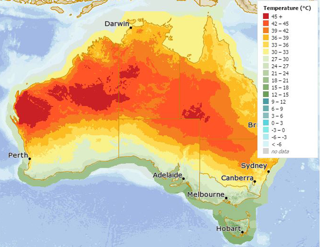 Temperatures could hit 50C by Sunday. (Bureau of Meteorology)