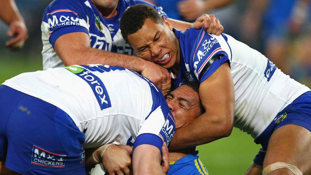 Will Hopoate (r) in action for Canterbury. (Getty)